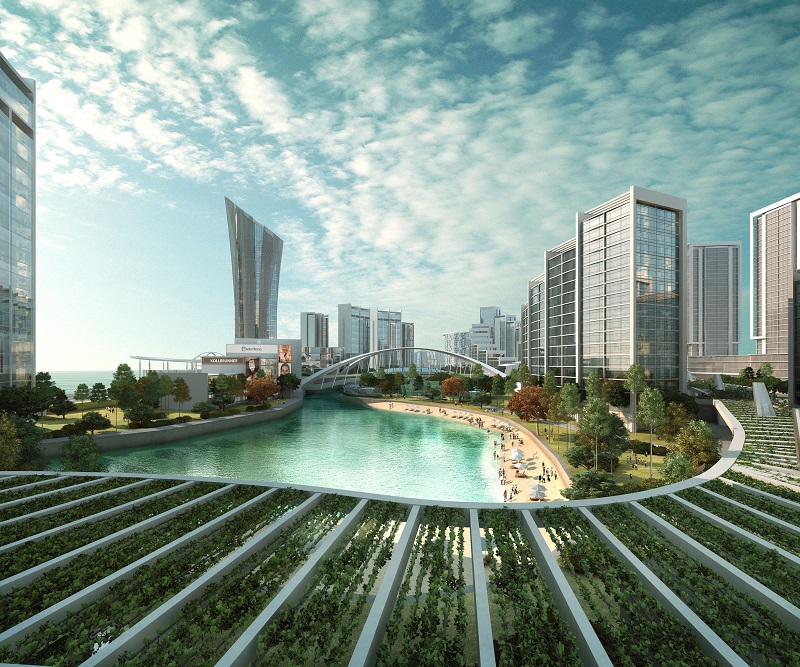 Water-themed parks and pockets of lush greenery create a soothing living environment for residents at Penang World City.