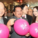From (left) Yap, and Wang with the pink Avenue K baloons at the launch.