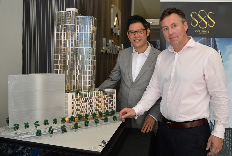 (From left) Jalin Realty International CEO Chen and Lend Lease�s Coughlan.