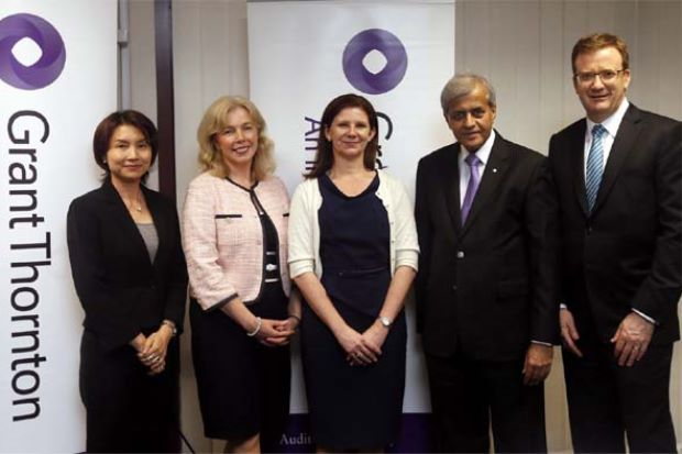 Lorraine Parkin Senior Executive Director of GST (2nd from left) with others from (left) Seah Siew Yun Senior Executive Director, Sian Sinclair Global Head of Real Estate & Construction, N.K. Jasani Managing Partner and Rodger Flynn Regional Head Asia Pacific, during the Grant Thornton Press conference on the impact of goods and services tax on the Malaysian property industry in Kuala Lumpur yesterday.(11/8/2014) - S.S.KANESAN/The Star)