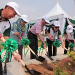 (From left) Tropicana Corporation senior general manager Mohd Zapi Abdullah Subang Jaya Municipal Council (MPSJ) landscape architect Azlina Mat Salim MPSJ president Datuk Asmawi Kasbi, Loh and Tropicana Corporation project executive director Daniel Teh planting the first tree for the Central Park to mark the campaign launch.