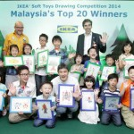 Jansen (top row, left) and Unicef Malaysia head of fundraising and partnerships Richard Beighton (back row, right) with the 20 winners of the soft toy drawing competition.